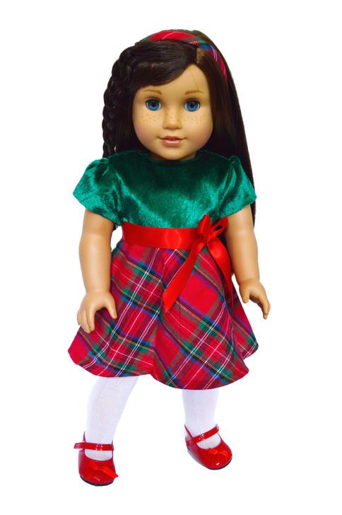 MBD 2020 Plaid Christmas Dress Fits 18 Inch Dolls