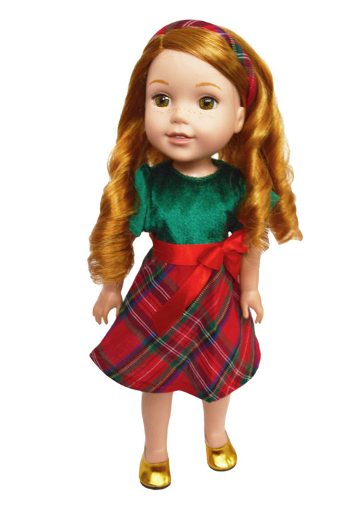 MBD Christmas Plaid Dress with Headband for 14 Inch Dolls