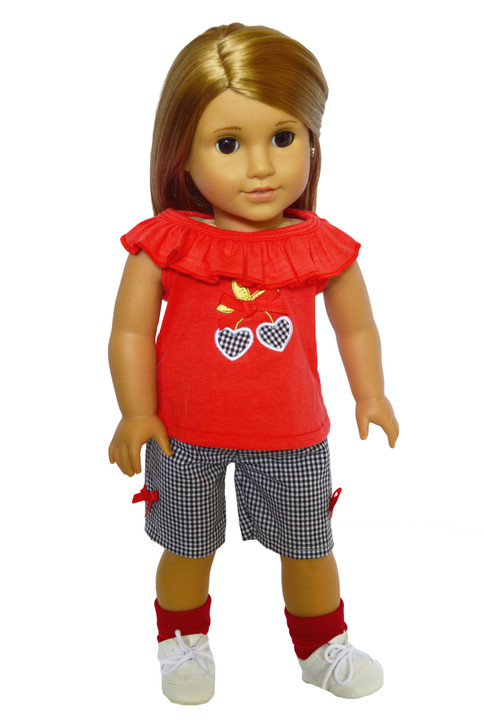 Cherry Hearts Outfit fits American Girl Dolls