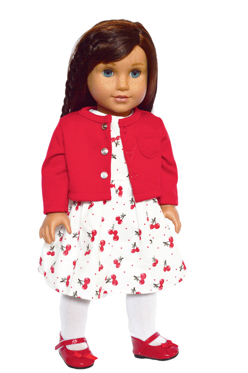Cherrie O Dress with Sweater Fits American Girl Dolls