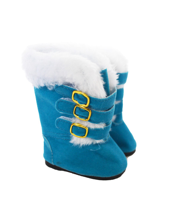 Modern Blue Fur Boots Fits American Girl Dolls and My Life as Dolls