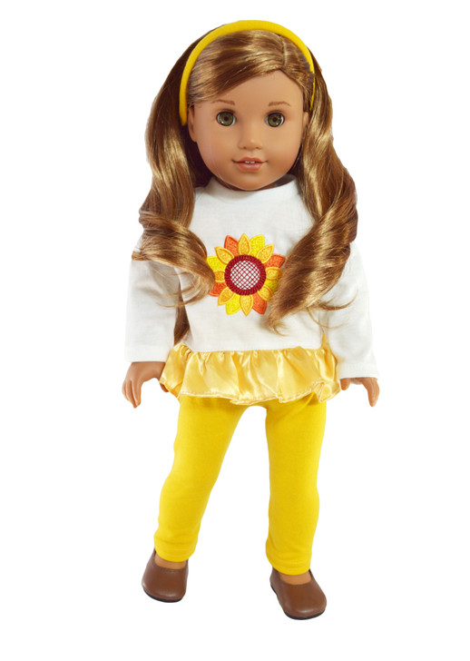 Sunflower Sunshine Outfit Fits 18 Inch American Girl Dolls