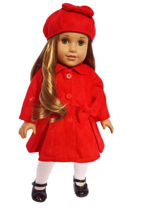 Dazzled Red Coat with Bows  Fits American Girl Dolls