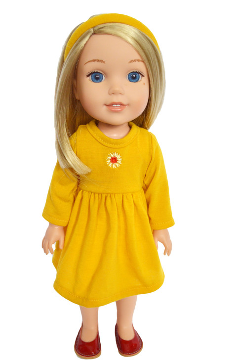 Sunflowers and Sunshine Dress Fits 14 Inch Wellie Wisher Dolls
