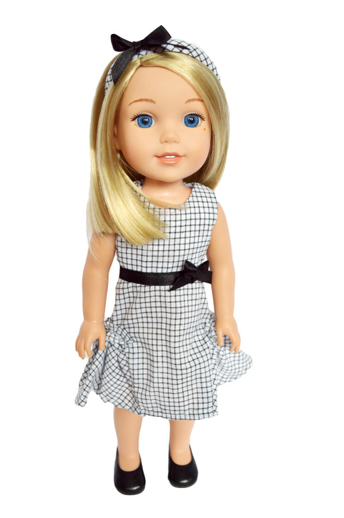 Picture Day Dress with Headband fits 14 Inch Wellie Wisher Dolls