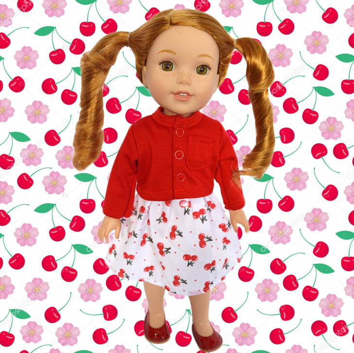 Cherrie O Dress with Sweater Fits Wellie Wisher Dolls