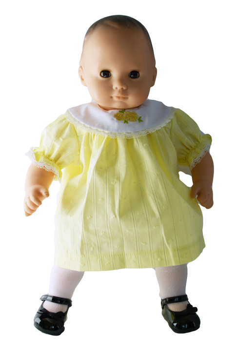 Pastel Easter Yellow Dress Fits Bitty Baby Dolls- 15 Inch Baby Doll Clothes