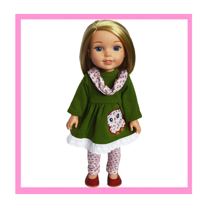 Floral Owl Outfit Fits  14.5 Inch Wellie Wisher Dolls and Lorelei Dolls