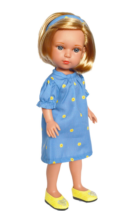 Blue Sunshine and Sunflowers Dress Fits 14.5 Inch Wellie Wisher Dolls and 14 Inch Lorelei  and Friends Dolls™