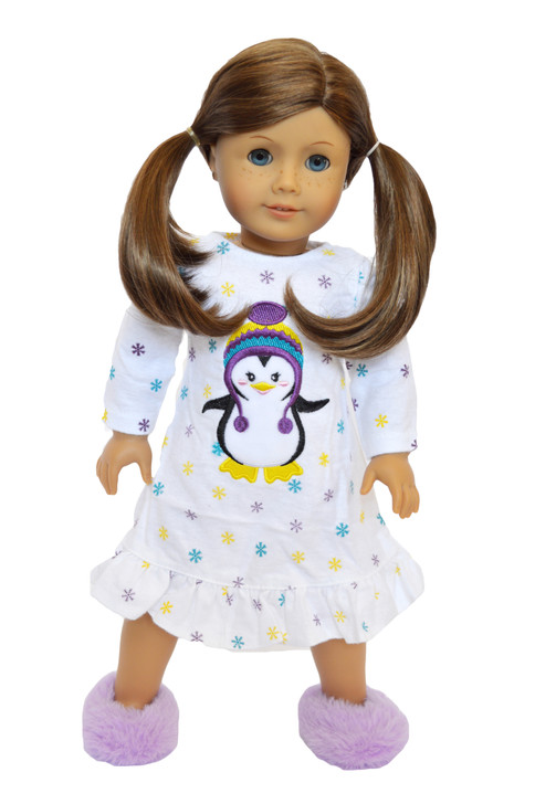 Sleepover Penguin Nightgown with Slippers Fits American Girl Dolls- 18 Inch Doll Clothes