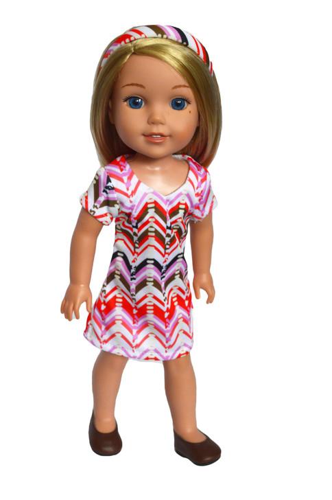 Zig Zag Dress Fits 14 and 14.5 Inch Wellie Wisher Dolls