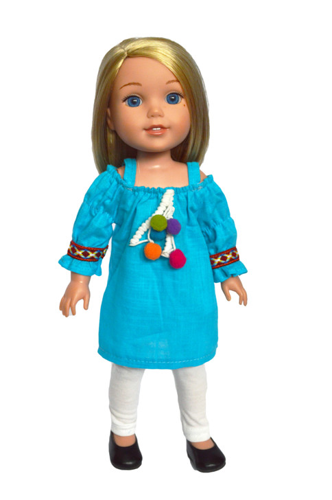 Summer Blue Tunic Outfit with Leggings Fits 14.5 Inch Wellie Wisher Dolls