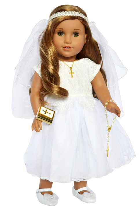 2021 Lace Top Communion Gown with Accessories Fits 18 Inch American Girl Dolls and Ann Lauren Fashion Dolls
