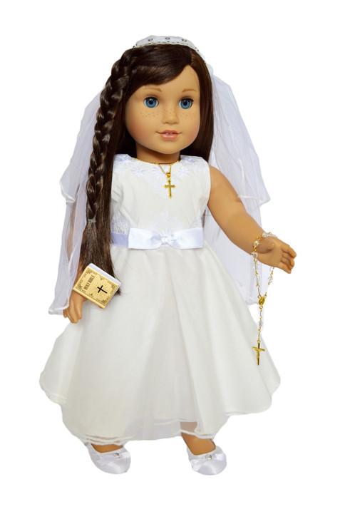 2021 Elegant Communion Gown Fits 18 Inch American Girl Dolls and Ann Lauren Fashion Dolls