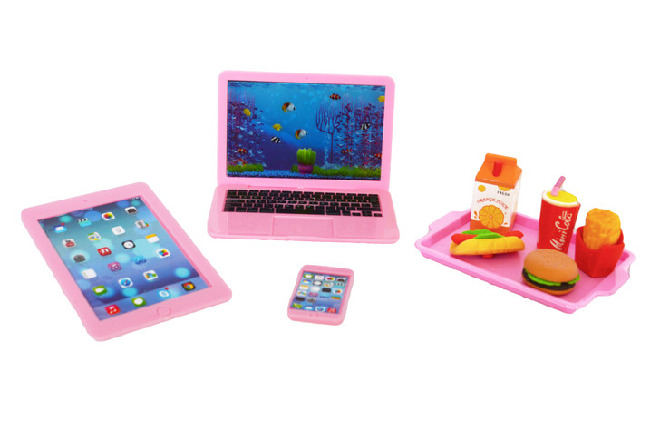 Pink Media and Lunch Tray For American Girl Dolls