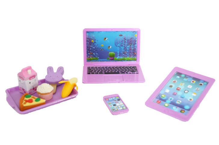 Lavender Media Set and Lunch For 18 Inch American Girl Dolls