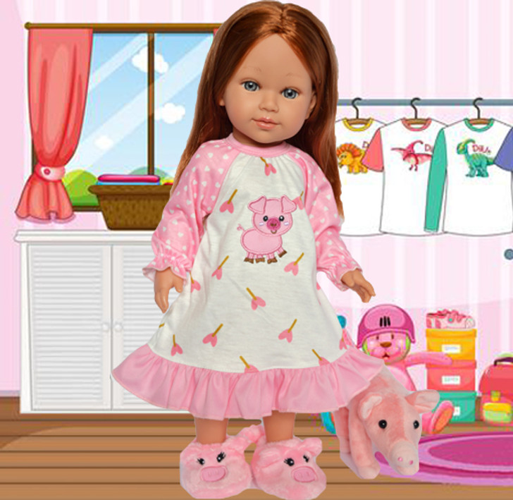 My Brittany's Little Piggy Nightgown/Slippers/Mini Pig Fits Ann Lauren Dolls and American Girl Dolls- 18 Inch Doll Clothes