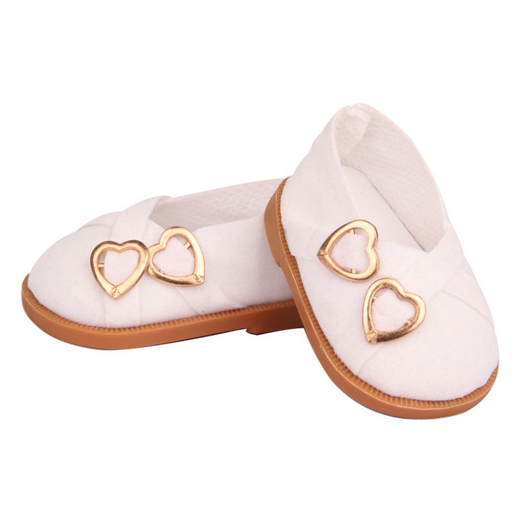 White Two Heart Shoes Fits 18 Inch American Girl Dolls, Kennedy and Friends, My Life as Dolls and Bitty Baby Dolls