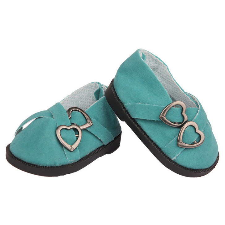Sea Green Double Heart Shoes Fits 18 Inch American Girl Dolls, Kennedy and Friends, My Life as Dolls and Bitty Baby Dolls