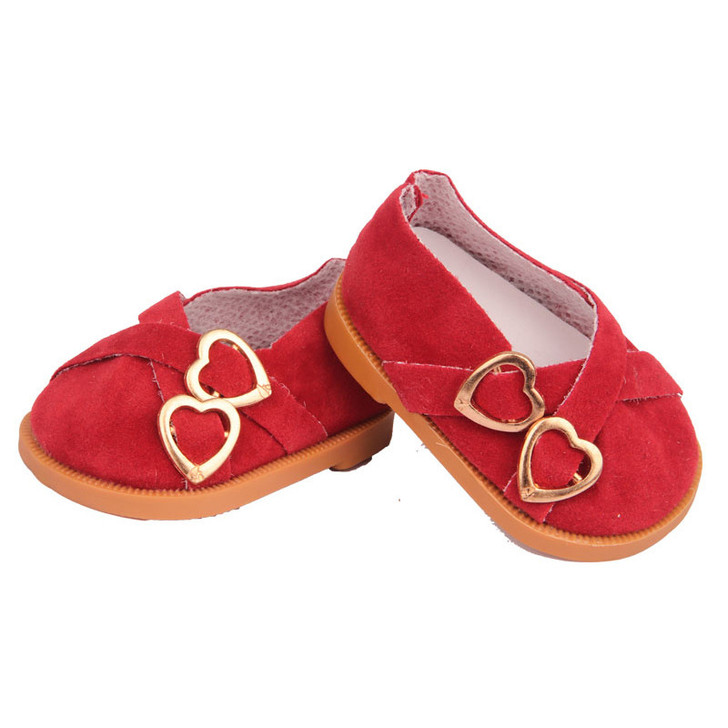 Cherry Red  Double Heart Shoes Fits 18 Inch American Girl Dolls, Kennedy and Friends, My Life as Dolls and Bitty Baby Dolls