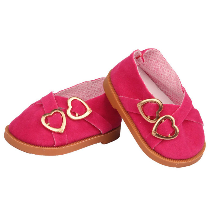 Hot Pink Double Heart Shoes Fits 18 Inch American Girl Dolls, Kennedy and Friends, My Life as Dolls and Bitty Baby Dolls