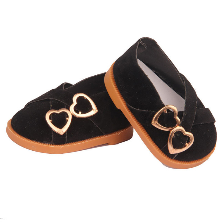 Black Double Heart Shoes Fits 18 Inch American Girl Dolls, Kennedy and Friends, My Life as Dolls and Bitty Baby Dolls