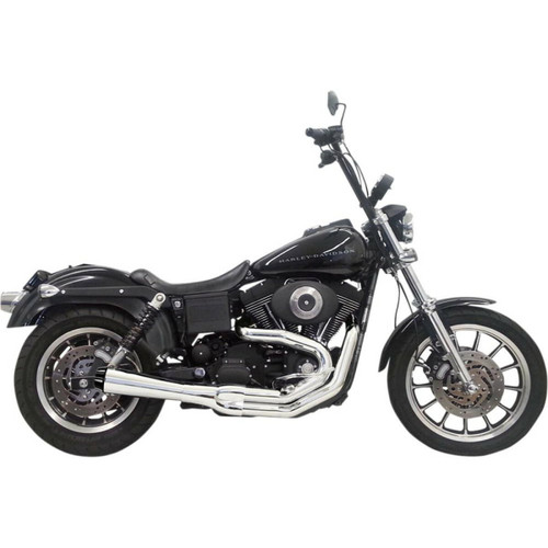 Bassani Bassani - Road Rage 2-Into-1 Exhaust - 1991-2005 Dyna with Mid Controls - Chrome