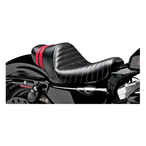 Le Pera Stubs Spoiler Seat Sportster Black/Red 2004-2017 Throttle Addiction