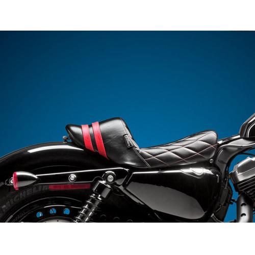 Le Pera - Stubs Spoiler Seat - 2004-2006 / 2010-2018 Sportster - Black/Red - Diamond - Throttle Addiction