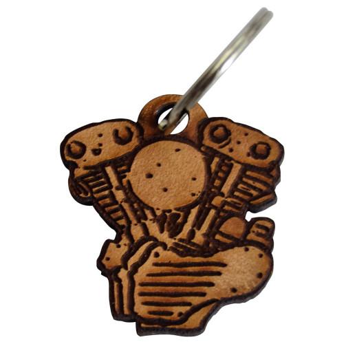 Throttle Addiction Knucklehead Keychain - Leather