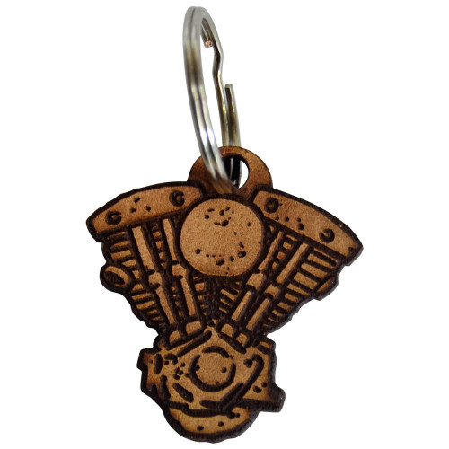 Throttle Addiction Shovelhead Keychain - Leather