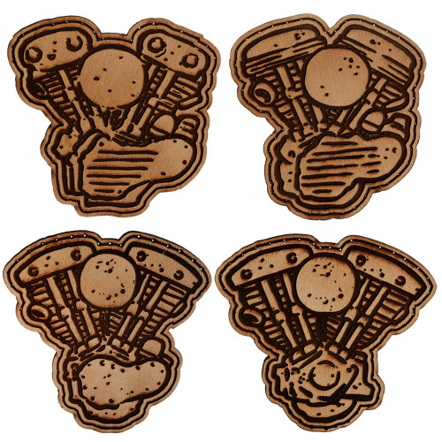 Throttle Addiction Harley Motors Leather Patches - 4 Pack