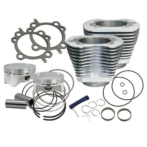 SandS SandS Cycle - 4 Sidewinder Big Bore Kit for 1999-2006 HD Big Twin Models - Silver