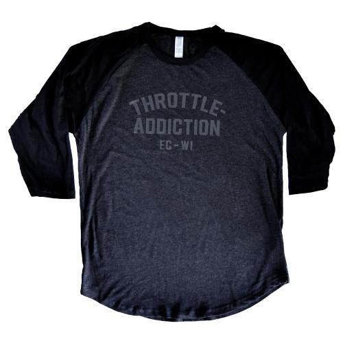 Throttle Addiction - Vintage Logo 3/4 Sleeve Baseball Shirt - Graphite/Black