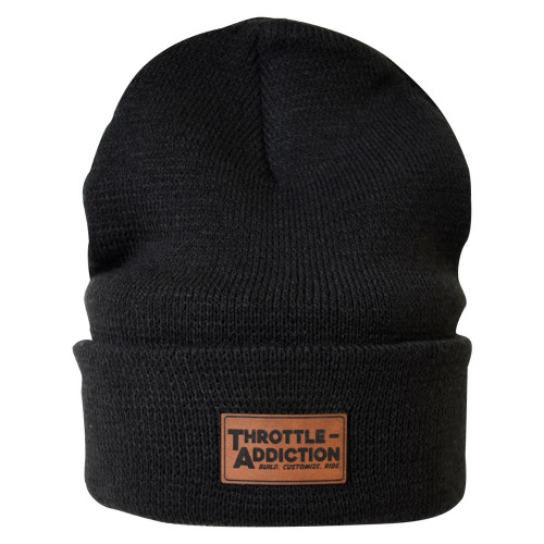 Throttle Addiction - Black Solid Cuff Beanie - Leather Patch