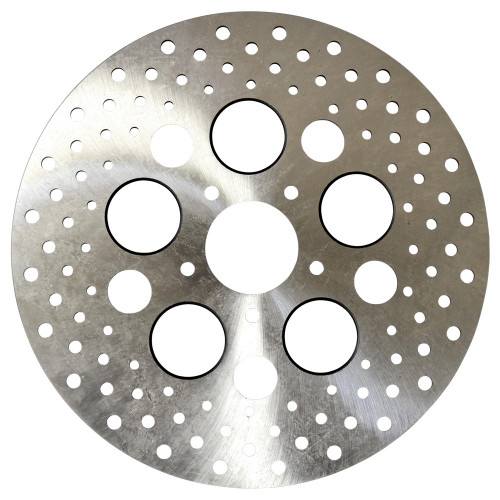 Harley Front Brake Rotor - Stainless Drilled