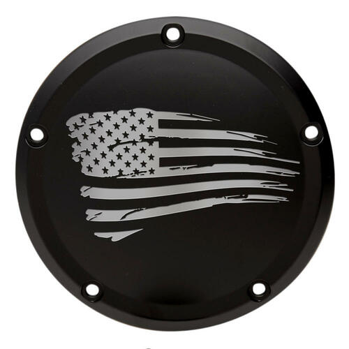 Throttle Addiction Custom Harley Derby Cover Tattered Flag