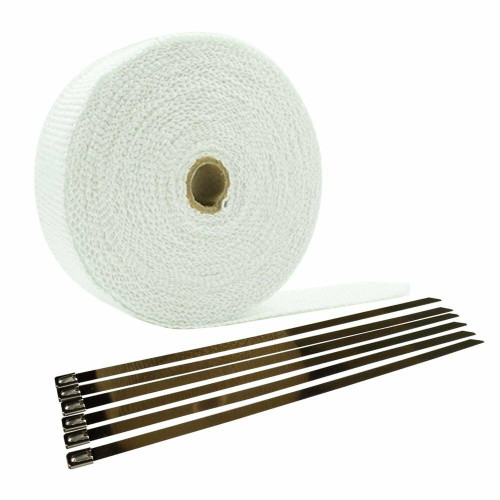 Universal Cycle 2 Exhaust Header Heat Wrap - White - 50FT