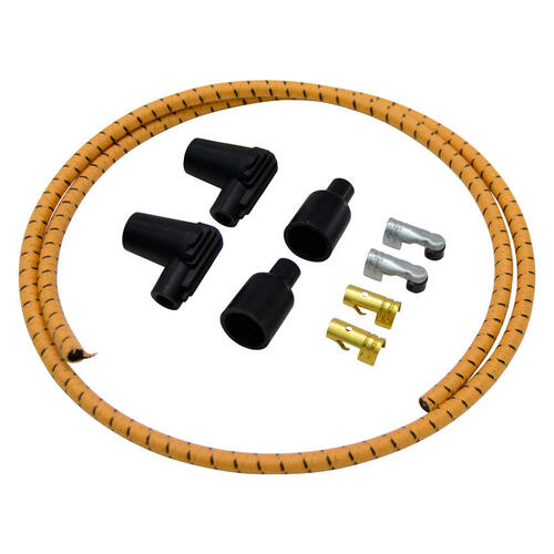 Universal Cycle 7mm Braided Cloth Spark Plug Wire Kit - Gold / Black
