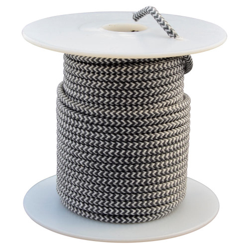 Throttle Addiction 16 AWG Lucas Style Vintage Cloth Covered Wire - Black / White - 10 FT