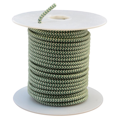 Throttle Addiction 16 AWG Lucas Style Vintage Cloth Covered Wire - Green / White - 10 FT