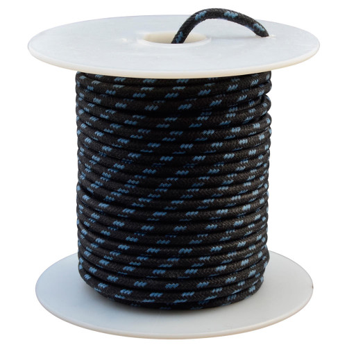 Throttle Addiction 16 AWG Vintage Cloth Covered Wire - Black with 3 Blue Tracers - 10 FT