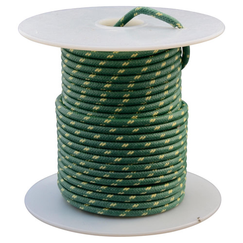 Throttle Addiction 16 AWG Vintage Cloth Covered Wire - Green with 2 Yellow Tracers - 10 FT