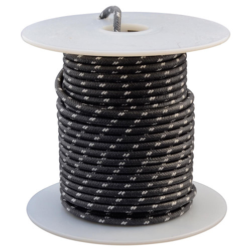 Throttle Addiction 16 AWG Vintage Cloth Covered Wire - Black with 2 White Tracers - 10 FT