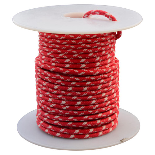 Throttle Addiction 16 AWG Vintage Cloth Covered Wire - Red with 2 Crossing White Tracers - 10 FT