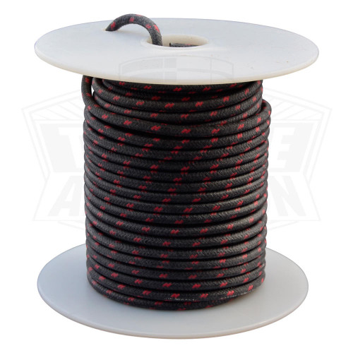 Throttle Addiction 16 AWG Vintage Cloth Covered Wire - Black with 2 Red Tracers - 10 FT