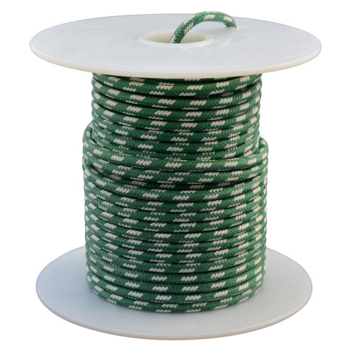 Throttle Addiction 16 AWG Vintage Cloth Covered Wire - Green with 4 White Tracers - 10 FT