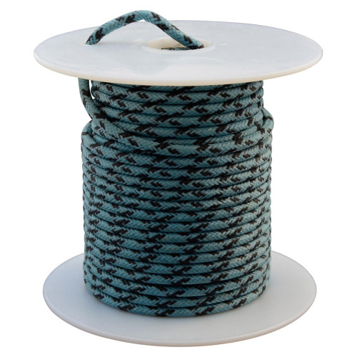 Throttle Addiction 16 AWG Vintage Cloth Covered Wire - Blue with Crossing Black Tracers - 10 FT