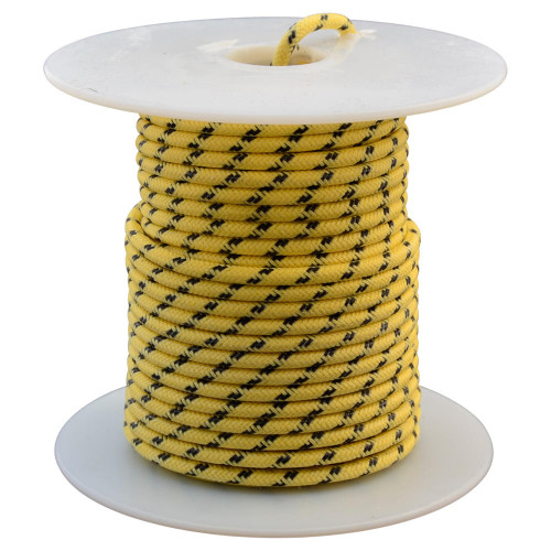 Throttle Addiction 16 AWG Vintage Cloth Covered Wire - Yellow with 2 Black Tracers - 10 FT
