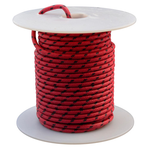 Throttle Addiction 16 AWG Vintage Cloth Covered Wire - Red with 2 Black Tracers - 10 FT